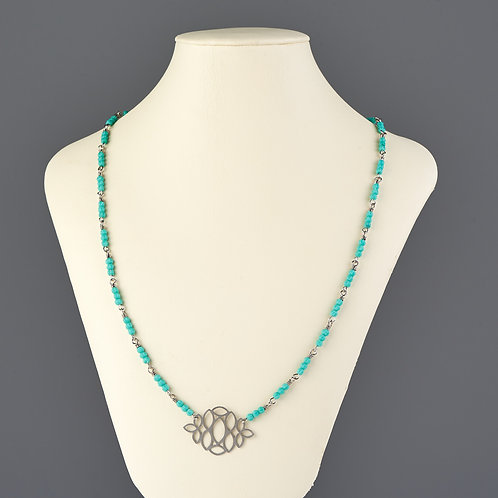 Turquoise Beaded Necklace with Cutout Pendant