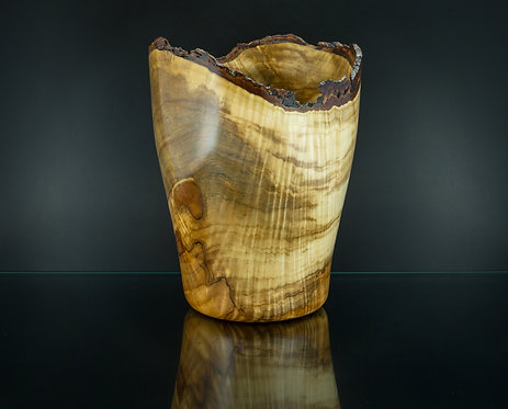 Magnificent Large, Live Edge, Figural Throughout, Curly Maple Vase
