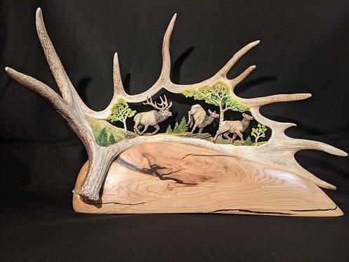 Moose Antler Running Elk