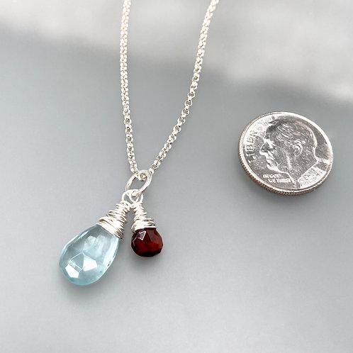Aquamarine and Garnet Necklace