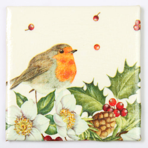Robin with Holly and Berries:  Set of 4