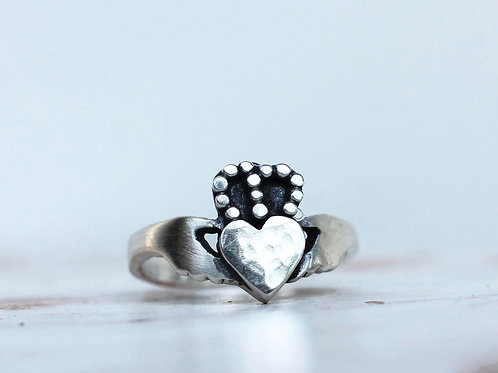 All Silver Handcrafted Modern Claddagh Ring