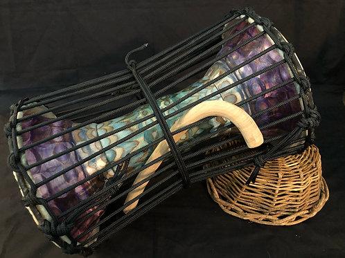 Carved talking drum - Purple and teal