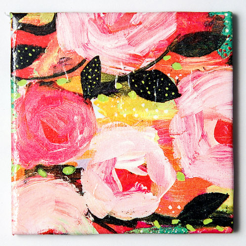 Pink Floral on Black:  Set of 4