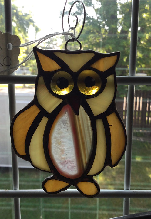 Amber Owl with Pink/Brown Agate