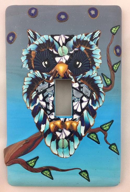 Single Owl Plate- Dark Blue & Turquoise