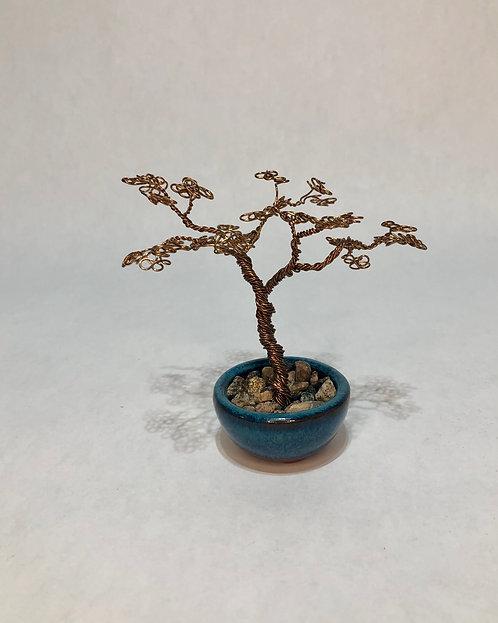 Copper Bonsai in Blue Pot