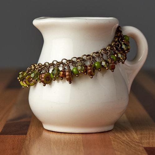 Olive Green Flower Beaded Bracelet