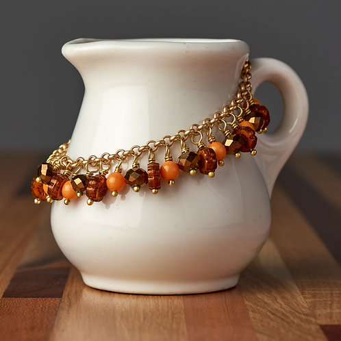 Light Orange Flower Beaded Bracelet