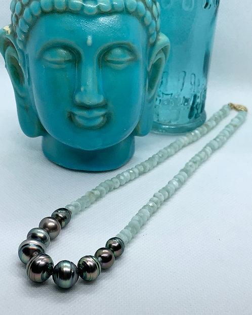 Tahitian Pearl & Green Moonstone Necklace