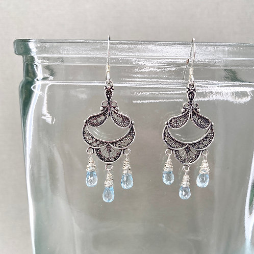 Blue Topaz Chandelier earrings