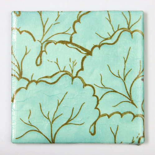 Aqua with Gold Leaf Outlines:  Set of 4 Coasters