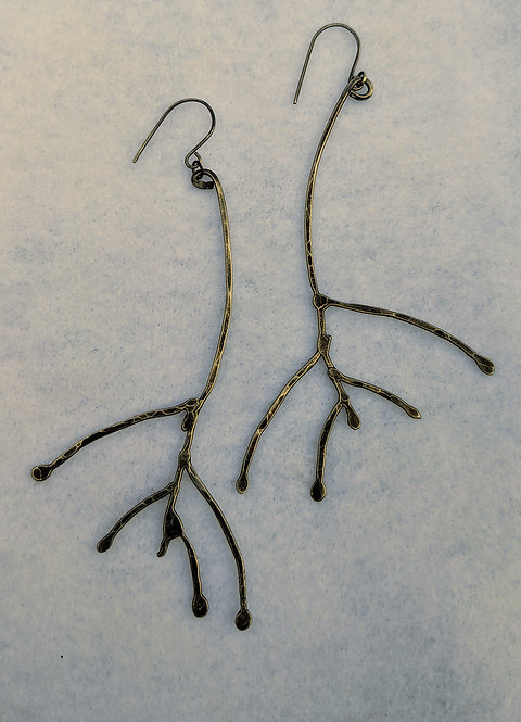 Sterling Antler Earrings