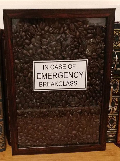 """Real """"COFFEE BEANS"""" Shadowbox with Hammer Key Ring"""