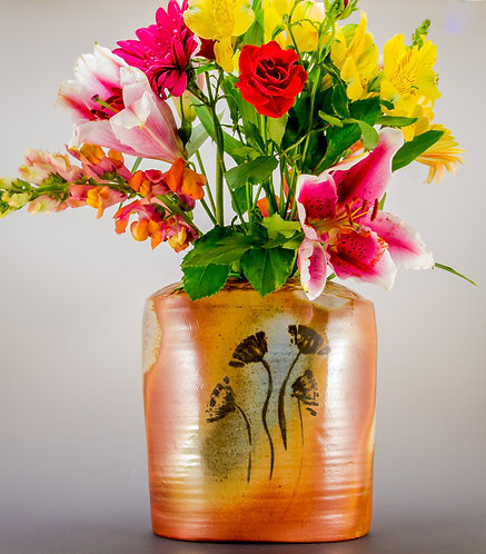 Painted Flower Oblong Vase