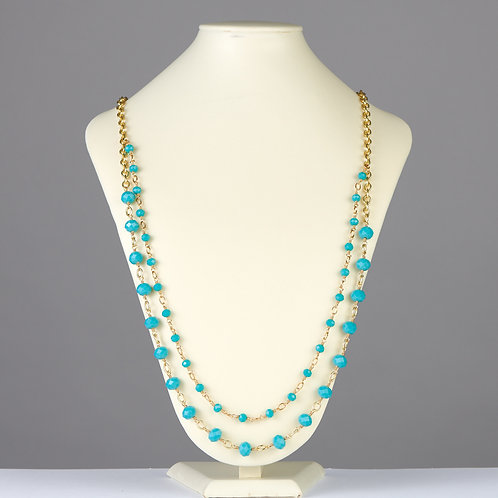 Gold and Turquoise Double Strand Necklace