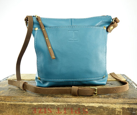 Teal Leather Shoulder Crossbody Bag