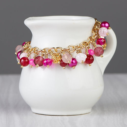 Hot Pink and Gold Beaded Dangle Bracelet