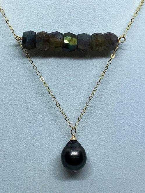 Tahitian Pearl & Stone Necklace- Labradorite