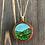 Thumbnail: Hills Landscape Alcohol Ink Wood Circle Pendant Necklace