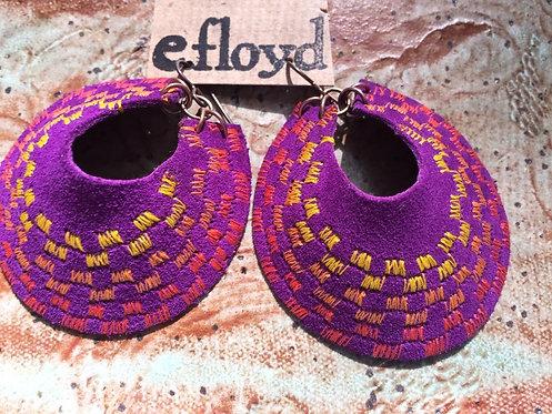 Purple Crescent Stitched