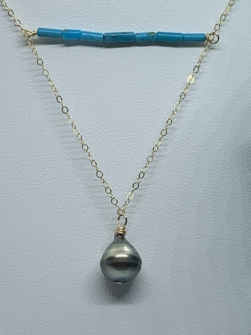 Tahitian Pearl & Stone Necklace- Turquoise