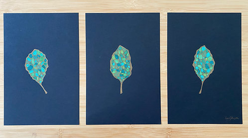 Golden Leaves Triptych