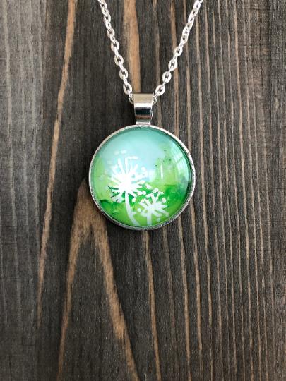 Dandelions Alcohol Ink Pendant Necklace