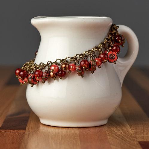 Dark Orange Flower Beaded Bracelet