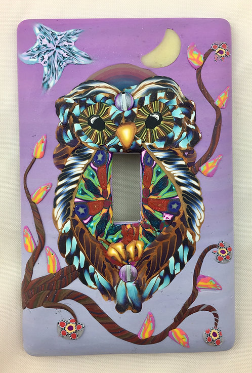 Single Owl Plate- Pink & Blue
