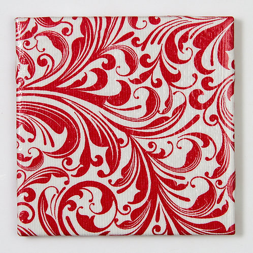 herry Red Pattern on White:  Set of 4