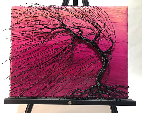 """Rising Dawn"" - Windswept Bonsai & Acrylic Canvas"