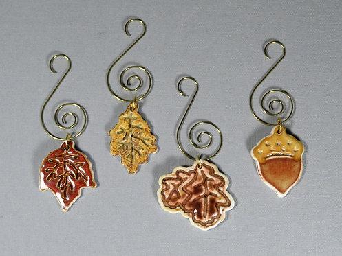 Set of 4 Leaf & Acorn Ornaments
