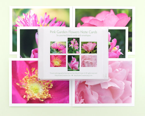 Pink Garden Flowers Photo Note Cards