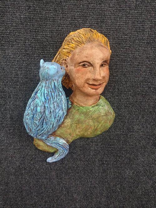 Sky blue whispering cat (green)