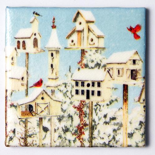 Cardinal and Birdhouses:  Set of 4