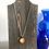 Thumbnail: Yellow Gold Alcohol Ink Wood Circle Pendant Necklace