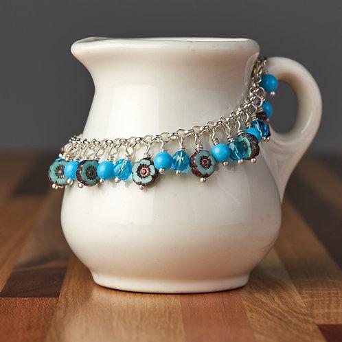 Aqua Blue Flower Beaded Bracelet