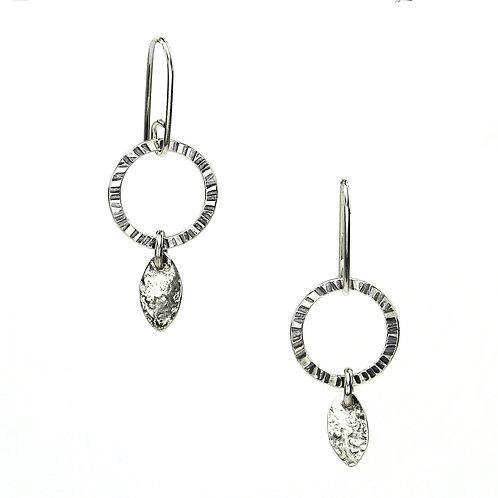Leaf Drop Hoop Earrings - silver leaves
