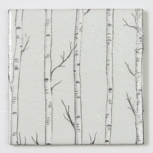 Birch on Grey:  Set of 4