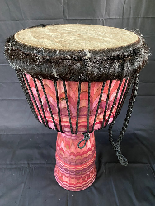Carved djembe - Pink and lavender