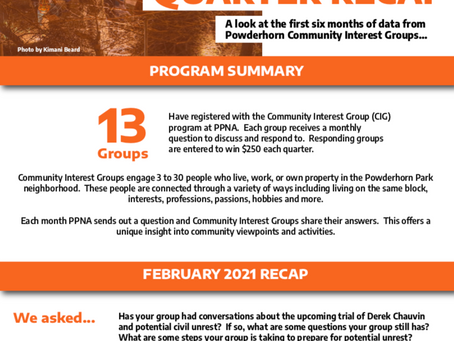 Community Interest Groups / First & Second Quarter Report