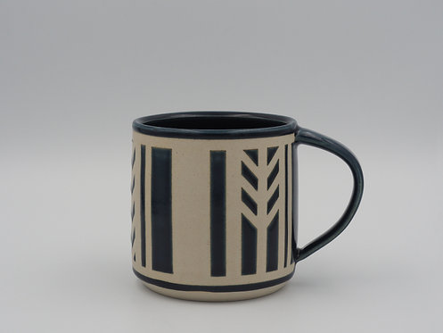 Blue & White Mug With Geometric Design