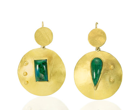 Chrysocolla set on domed disc with gold balls Earrings
