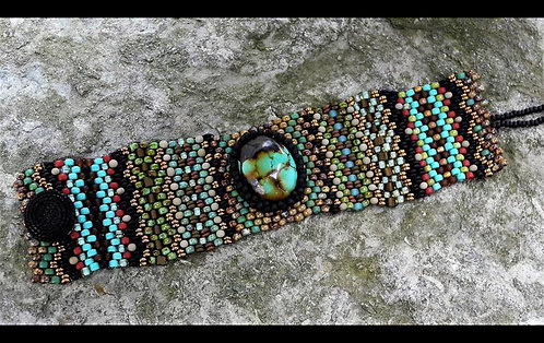 Tapestry Cuff Turquoise Cabochon