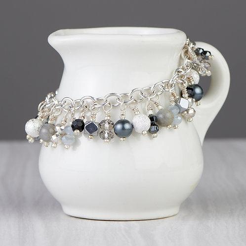 Black and Silver Beaded Dangle Bracelet