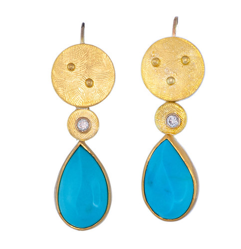 Turquoise with Diamonds Earrings