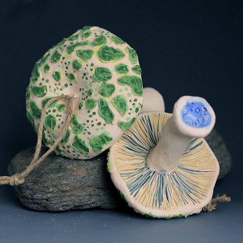 Green Cracking Russula Mushroom Ornament