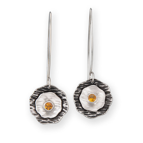 Double Flower Earrings with Golden Citrine
