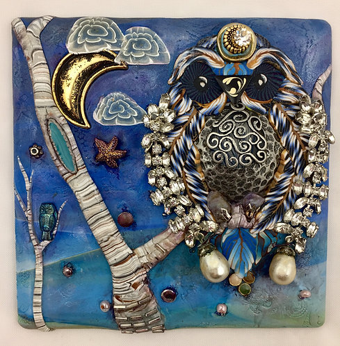 Double Wall Art Owl- Blue, with Hanger